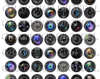 Camera Lens Camera Lenses Digital Collage Sheet Camera Instant Download 1 inch circles Cameras Camera Lens
