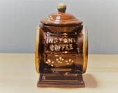 Davar Originals Coffee Grinder quot Instant Coffee quot Container with Lid Vintage Japan