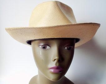 8932a1ce Vintage Panacool Straw Hat, Park Plaza Straw Hat, Size 6 3/4 Straw Hat,  Small Size Straw Hat