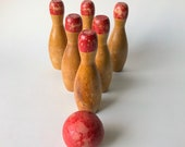 Vintage Children 39 s Bowling Set, Wooden Bowling Set, Wood Bowling Pins, Children 39 s Wooden Bowling Pins And Ball