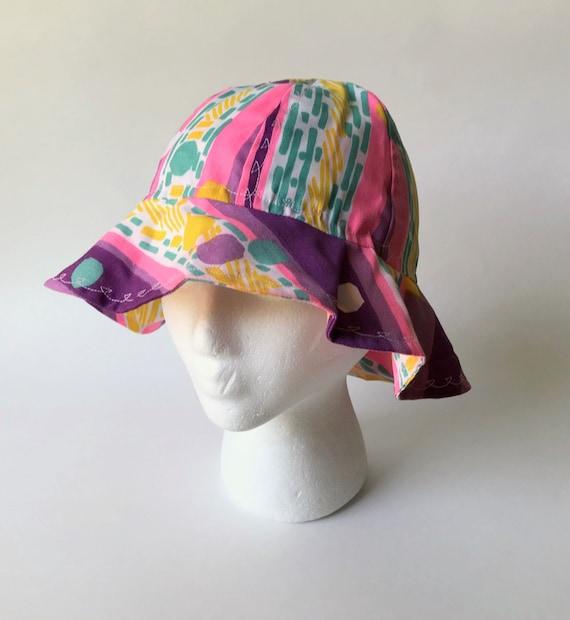 Vintage Homemade Child's Sun Hat, Purple Cloth Hom