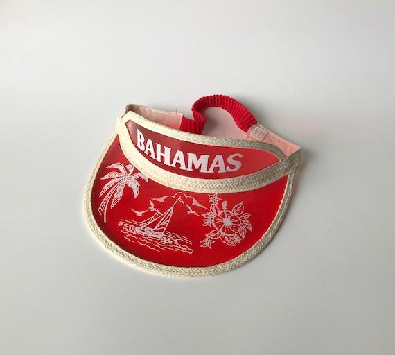Vintage Red Plastic Bahamas Sun Visor, Souvenir Su