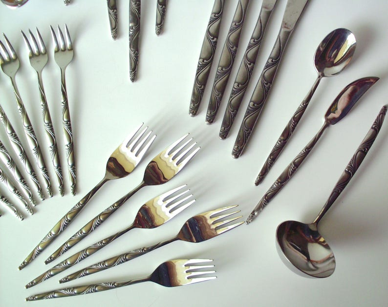 Lot of Rare Vintage Orleans Ladies Fingers Stainless Table Service 44 Pieces