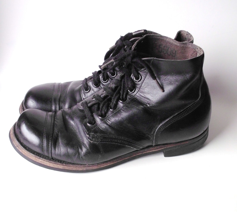 903751b061ad1 Vintage BF Goodrich Black Leather Vietnam Men's Low Top Combat Boots, 1961,  Made in USA, Size 10 1/2