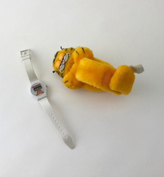 Vintage Garfield Plush Watch, Plush Garfield With