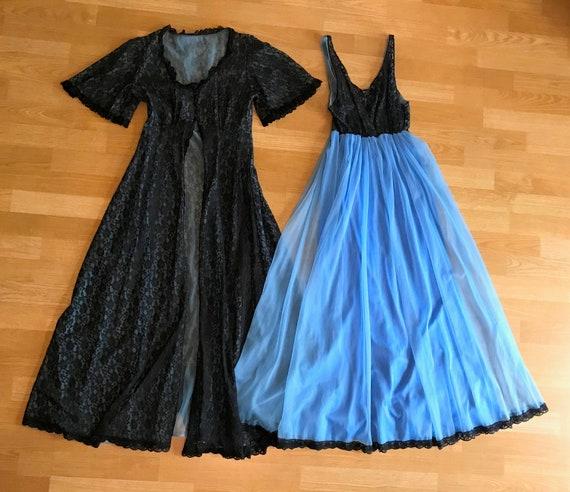 Vintage Tosca Lingerie Black Lace And Blue Nylon P
