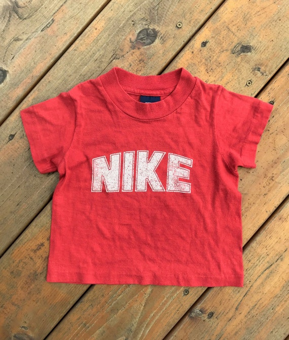 Vintage Baby Size Blue Tag Nike T-Shirt, Red Nike