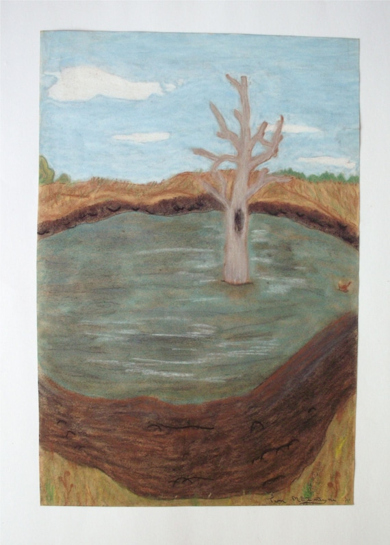 Vintage Original Art Chalk Drawing of a Tree Landscape