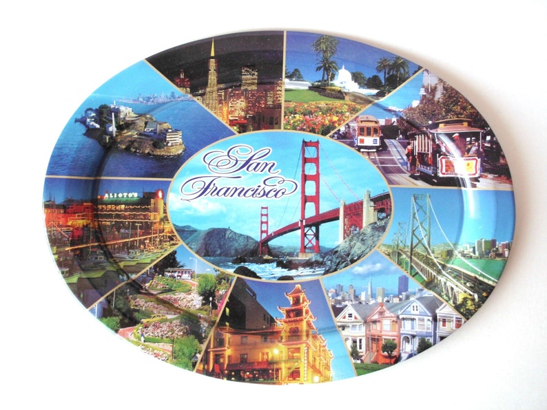 Souvenir San Francisco Serving Tray, Golden Gate Bridge, Chinatown, Trolleys