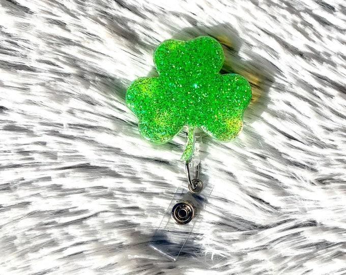 Glitter Badge Reel Saint Patrick\u2019s Day Clover Badge reel ID holder Badge Holder Badge Reel