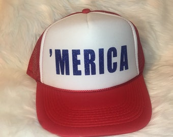 Merica Red and White trucker hat   red and white    trucker hat