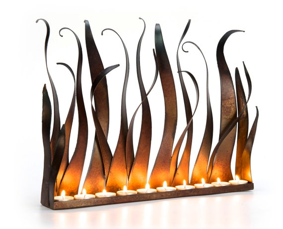 Metal Candle Holder Tabletop Sculpture Fireplace Insert Etsy