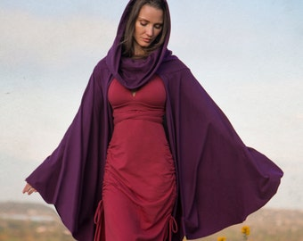 Cape Hoodie ~ long in front, shorter in back ~ Elven Forest, festival clothing, Ren Faire, Gypsy cover up, Boho Love