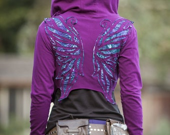 Peacock Winged Hoodie Wrap ~ Elven Forest, Festival Clothing, crop top, wings, faery, pixie, fairy, boho, hood, cover up