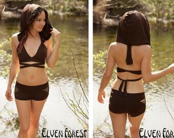 Hooded Swimsuit Bikini Top with Removable Hood ~ Elven Forest, wrap top, earthy swimsuit, tribal bikini, faery top, festival, boho, bohemian