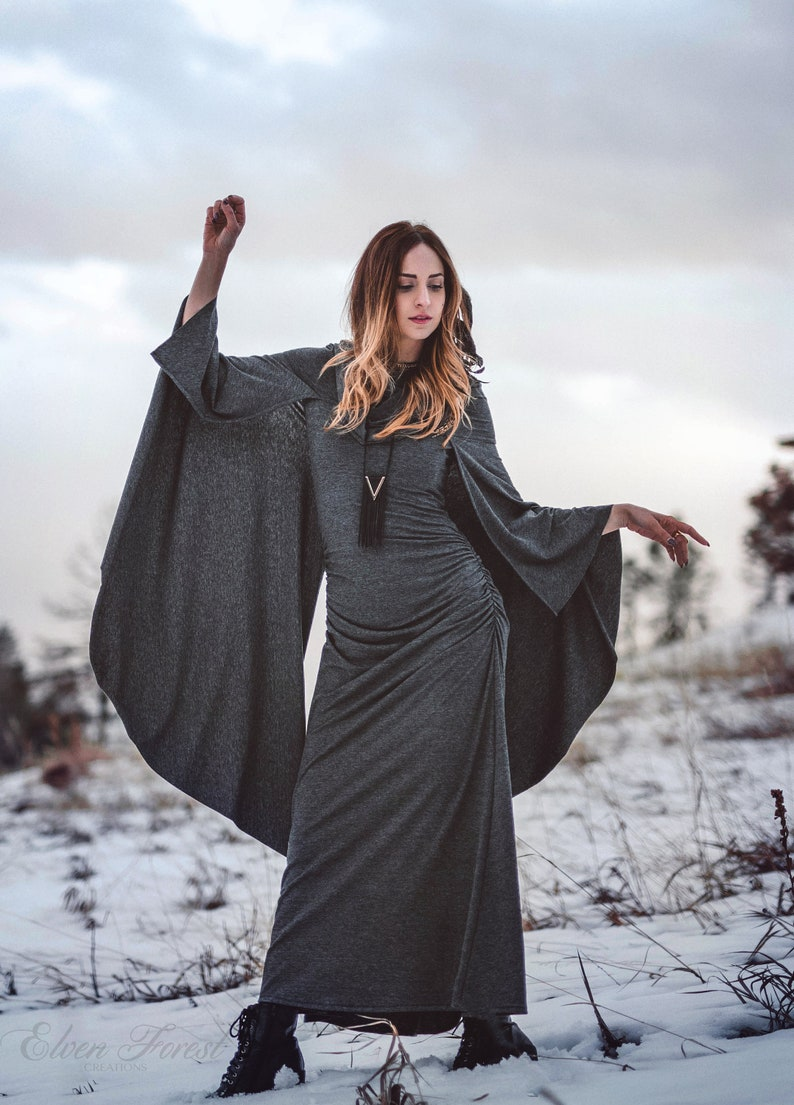 020182f1ac Hooded Cape Maxi Dress Wings and Cowl Hood Elven Forest | Etsy