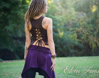 Lace up Pixie Tank ~ ~ ~ gypsy clothing, romantic, open back, festival clothing, goa top, tribal, hippie, festival crop top, electric forest
