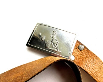 Vintage Mid Century Rodeo Cowgirl Belt Buckle and Leather Prize Belt