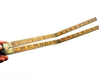 Large Vintage Industrial Folding Wooden Ruler