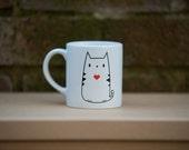Cute cat red heart print tea coffee mug