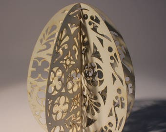Elaborate gothic  egg shaped greetings, birthday, Easter, Christmas card, unique, original gift, 3D, fold out, laser cut