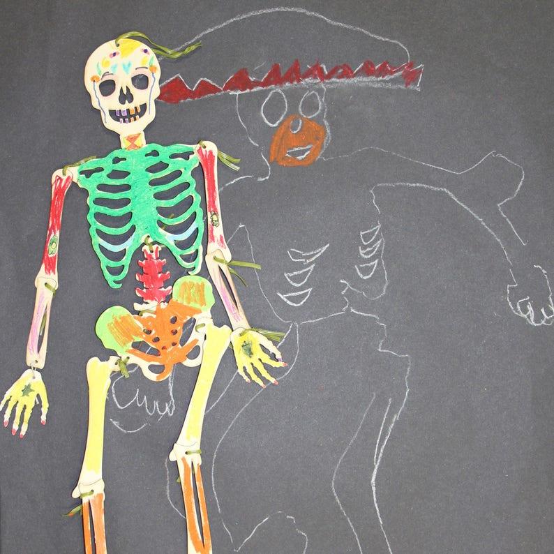 teaching resource home education 4 pack party pack card puppet Halloween Skeleton Kit laser cut bones