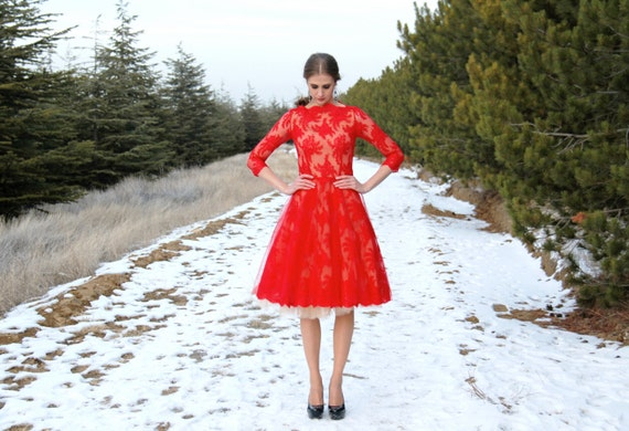 Red Lace Dress With Tulle Underskirt by Etsy