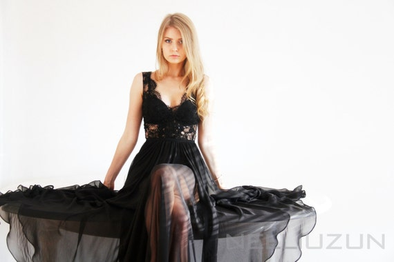 ae022455f2 Maxi Silk and Lace Black Gown Unique Handmade Nude Dress Haute | Etsy