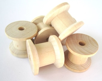 10x 3cm unfinished natural wooden spools bobbins reels for ribbons cottons