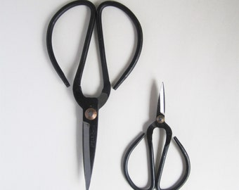 Vintage style traditional hand forged cast iron black tailors scissors - large or small size