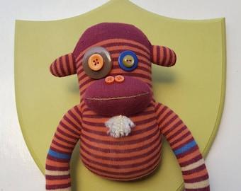 Wall Mounted Striped Sock Monkey with Beard