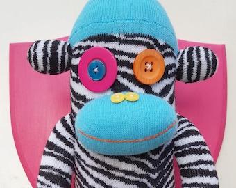 Wall Mounted Zebra Striped Sock Monkey