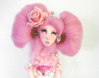 Ooak Art Doll  -Selma and her teddy Alphonse .Handmade