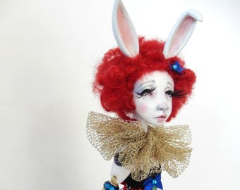 Ooak Art Doll Suzette ,magician's rabbit in the hat- art doll- ! Free shipping !