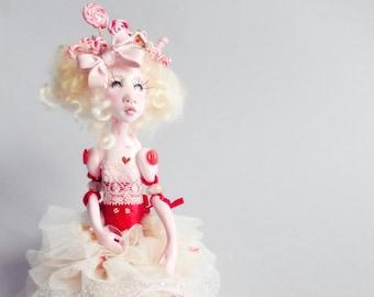 Ooak Art Doll Appoline Christmas candy doll Handmade !FREE Shipping!