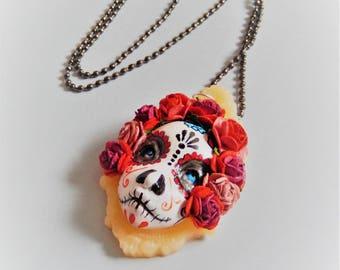 Catrina doll face dia de los muertos necklace pendant handmade