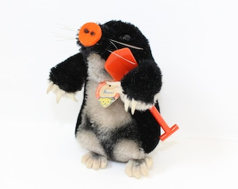 Vintage 1960s Steiff Maxi the mole mohair straw filled soft toy with red plastic spade and chest tag