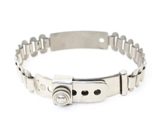 Antique Victorian Edwardian dog collar silver tone metal chain link adjustable screw fastener