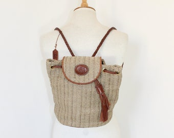 Vintage 1990s Tula brown leather and hessian backpack bag back pack medium size