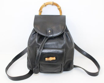 ede642c8d29 Vintage Gucci Bamboo black leather mini backpack designer bag handbag