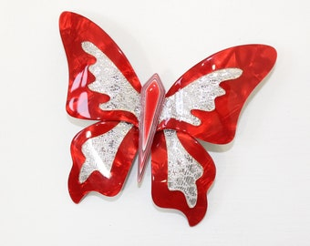 Vintage large Lea Stein Butterfly pin brooch insect cellulose red silver sparkle