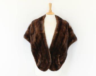 Vintage 1950s real mink fur stole cape shrug wrap medium chocolate brown