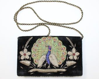 Vintage 1940s black velvet peacock bird wirework shoulder bag purse handbag  hand embroidered metal wire fd4e326981286