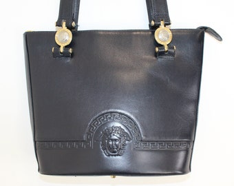 3e85531fbbae Vintage 1980s Gianni Versace shoulder bag designer handbag navy blue  embossed leather medusa logo