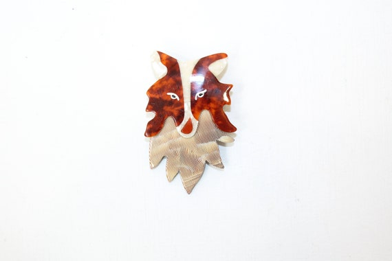 Vintage Lea Stein collie dog head pin brooch anima
