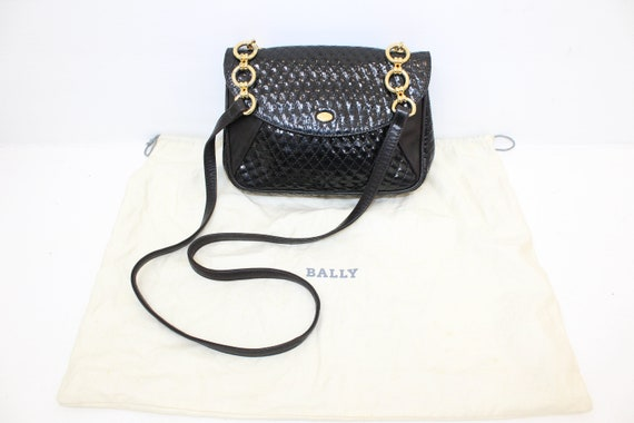 Vintage 1990s Bally handbag black quilted patent l