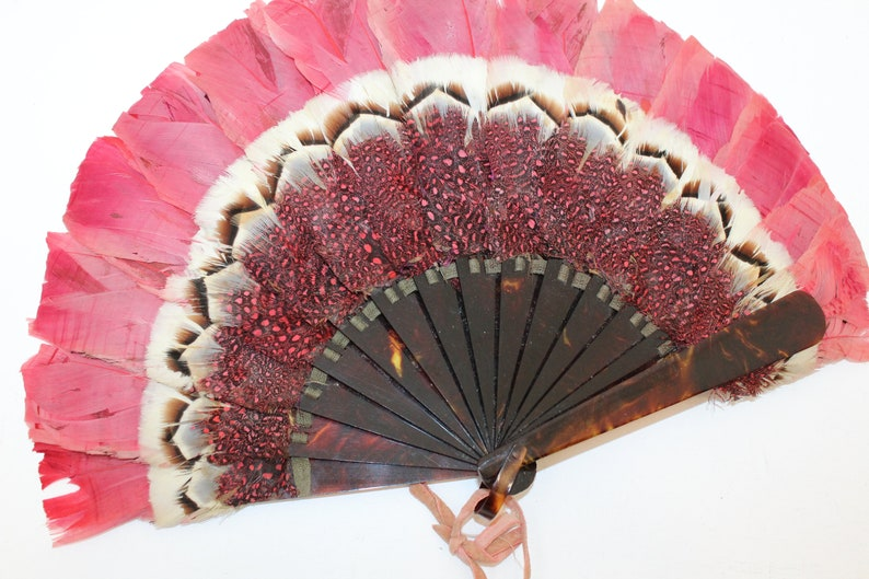 Antique Victorian pink feather fan folding hand fan celluloid staves