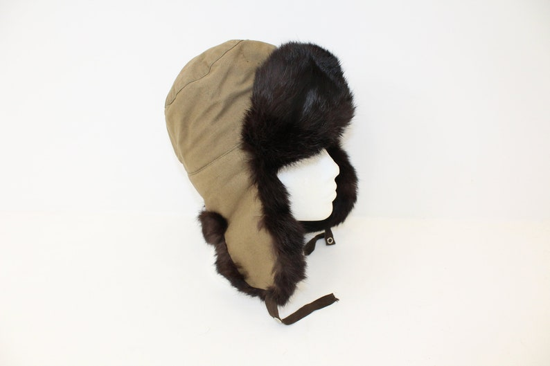 5ebfc29f5c32a Vintage ladies real brown rabbit fur trapper hat Russian style