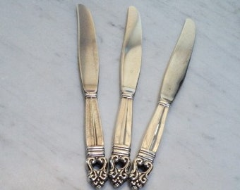 International Silver Royal Danish (Sterling,1939) 3 Knives, 2 Silver, 1 Stainless