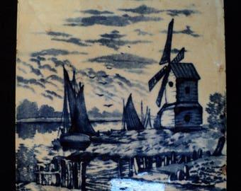 "Antique A.E. Tile Co. Blue Dutch Windmill & Sailboat Scene 6""x6"""